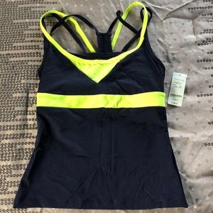 Bebe Sport Colorblock Strappy Tank-Yellow Neon